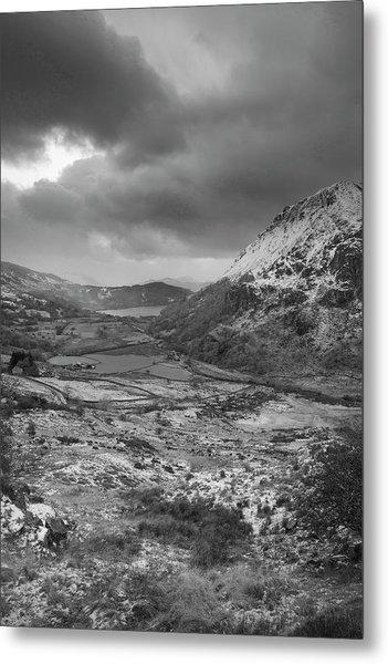Beautiful  Black And White Winter Landscape Image In Llyn Gwynan Metal Print
