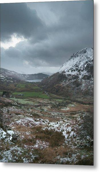 Beautiful Winter Landscape Image In Llyn Gwynant In Snowdonia Na Metal Print