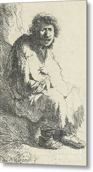 Beggar Seated On A Bank Metal Print