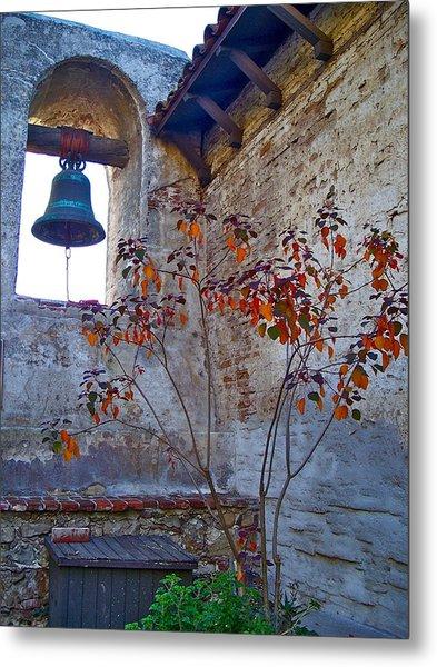 Bell Wall And Eastern Wall Of Serra Chapel In Sacred Garden Mission San Juan Capistrano California Metal Print