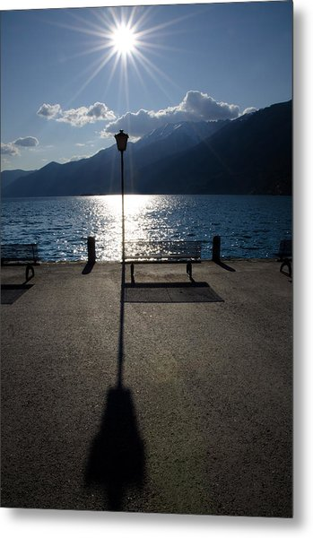 Bench And Street Lamp Metal Print