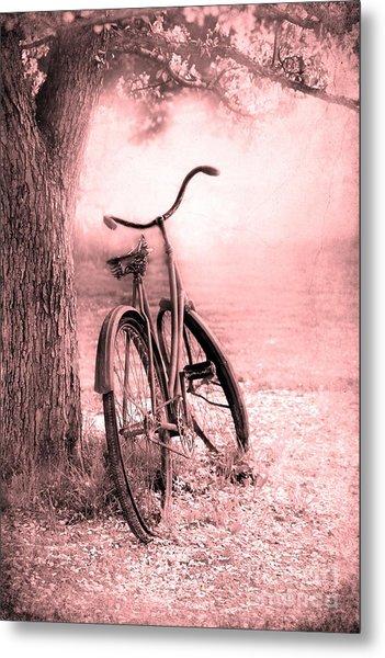 Bicycle In Pink Metal Print