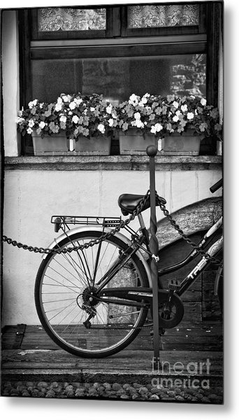 Bicycle With Flowers Metal Print
