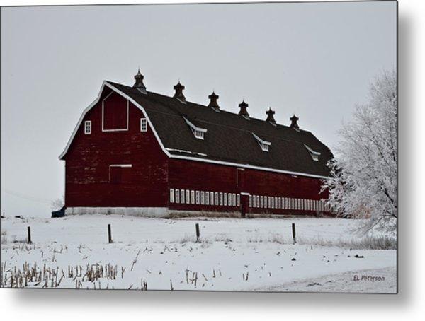 Big Red Barn In The Winter Metal Print