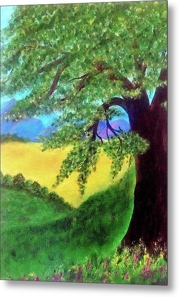 Metal Print featuring the painting Big Tree In Meadow by Sonya Nancy Capling-Bacle