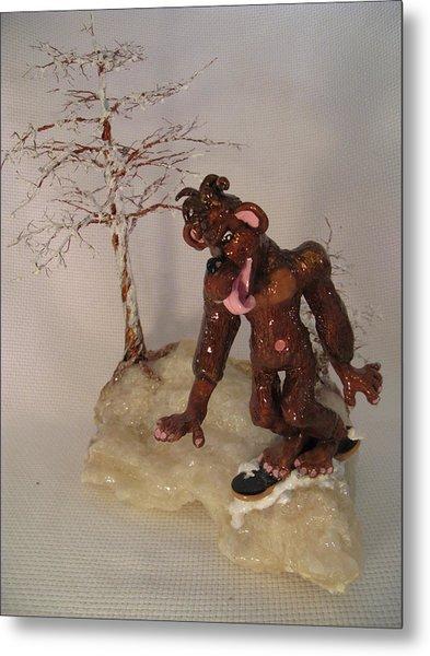 Bigfoot On Crystal Metal Print by Judy Byington