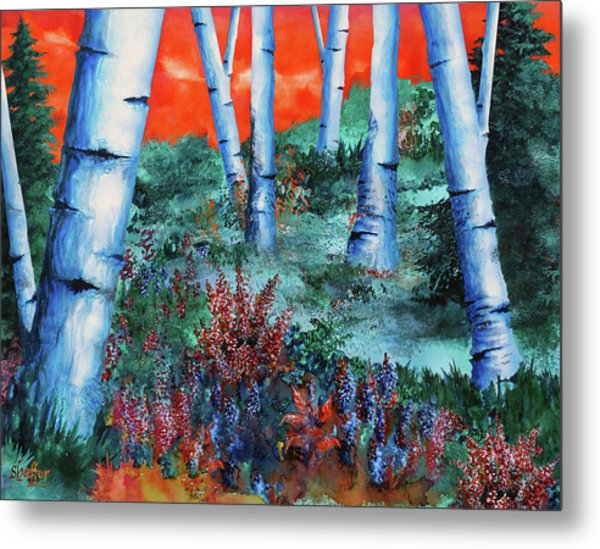 Birch Trees At Sunset Metal Print