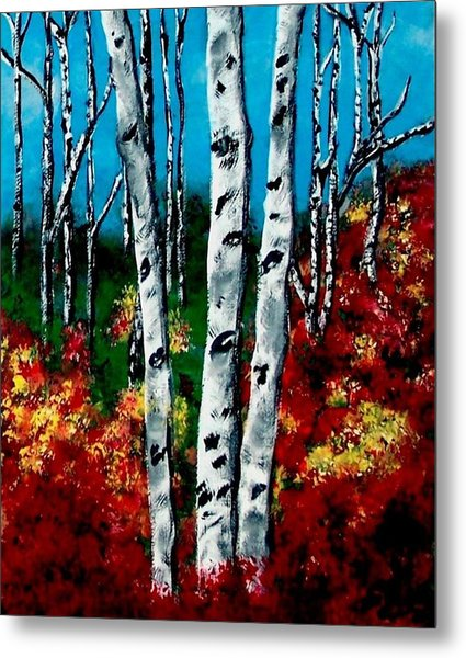 Metal Print featuring the painting Birch Woods 2 by Sonya Nancy Capling-Bacle
