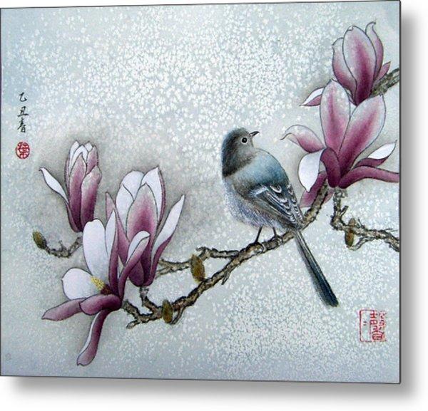 Bird And  Magnolia  Metal Print by Leaf Moore