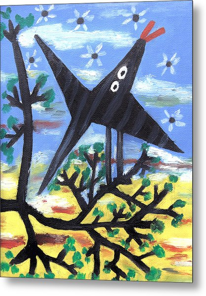 Bird On A Tree After Picasso Metal Print