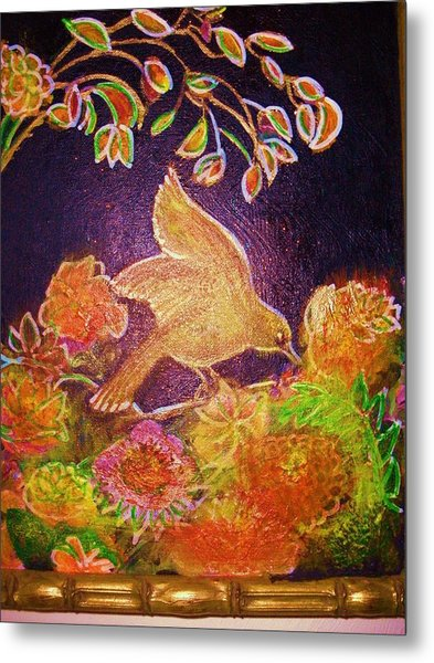 Bird On Flowers On A  Glorious Night Metal Print by Anne-Elizabeth Whiteway