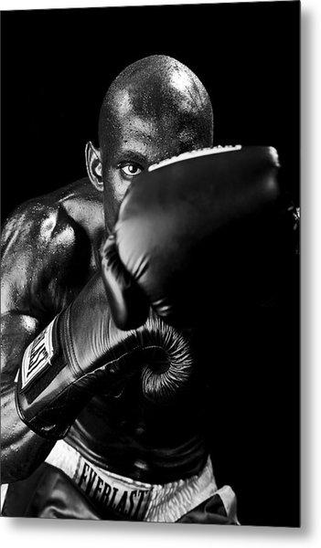 Black Boxer In Black And White 04 Metal Print
