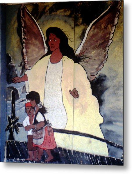 Black Guardian Angel Mural Metal Print