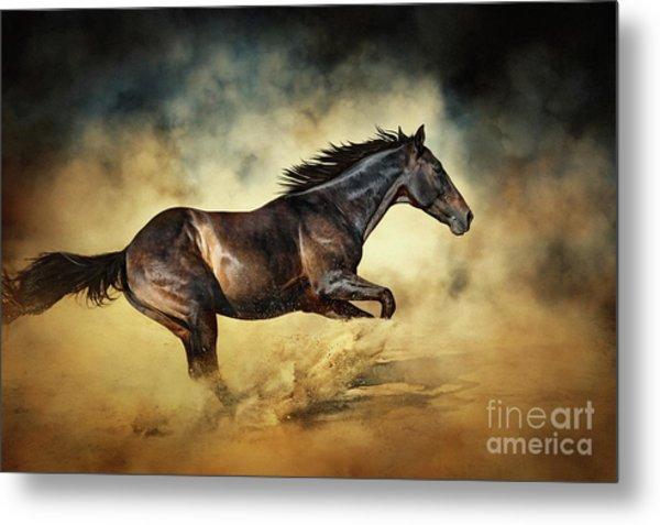 Black Stallion Horse Galloping Like A Devil Metal Print