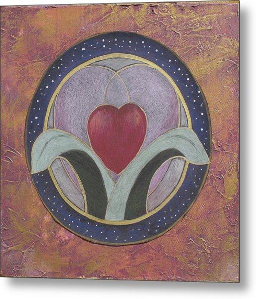 Blooming Heart Mandala Metal Print by Jo Thompson