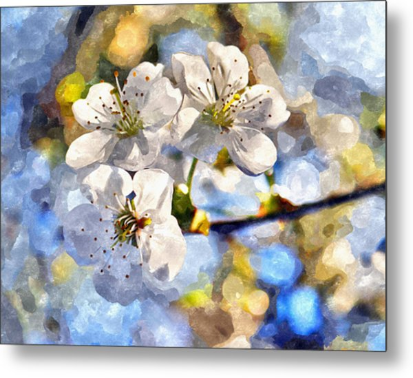 Blossoming Cherry And Morning Sunlight Watercolor Metal Print