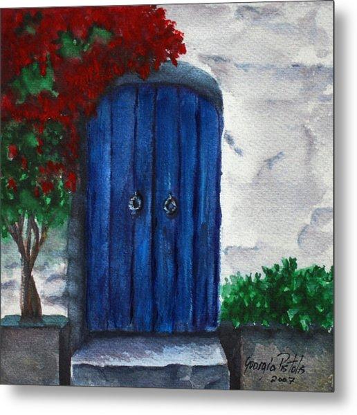 Blue Door Metal Print by Georgia Pistolis