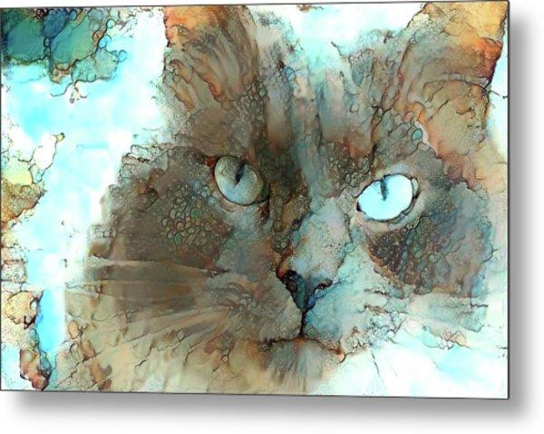 Blue Eyed Persian Cat Watercolor Metal Print
