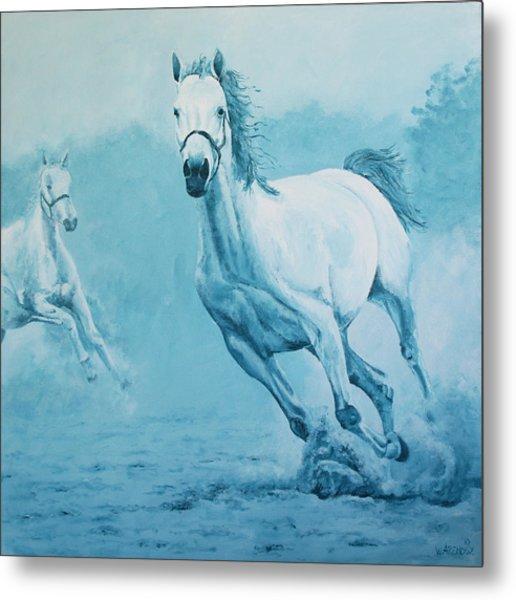 Blue Horses Metal Print by Willem Arendsz