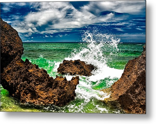 Blue Meets Green Metal Print