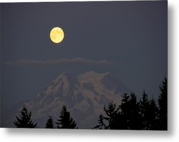 Blue Moon - Mount Rainier Metal Print