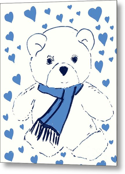 Blue Teddy Bear Love Metal Print
