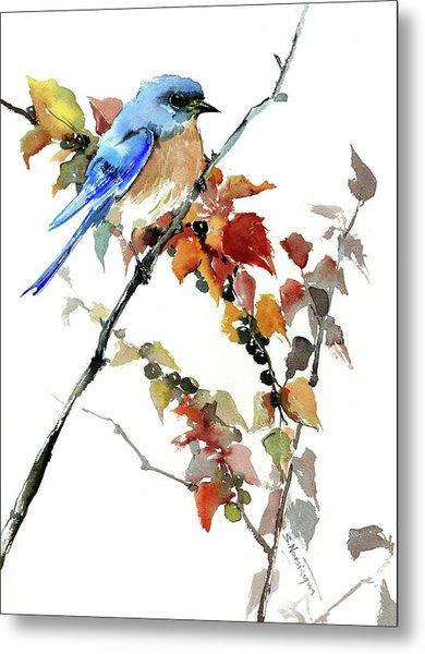 Bluebird In The Fall Metal Print