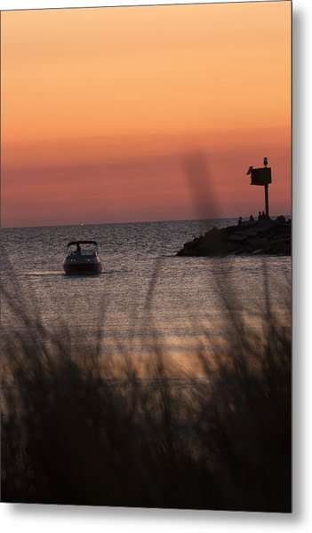 Boat Arriving At New Buffalo Harbor Metal Print by Christopher Purcell