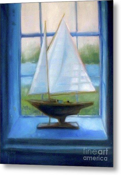 Boat In The Window Metal Print