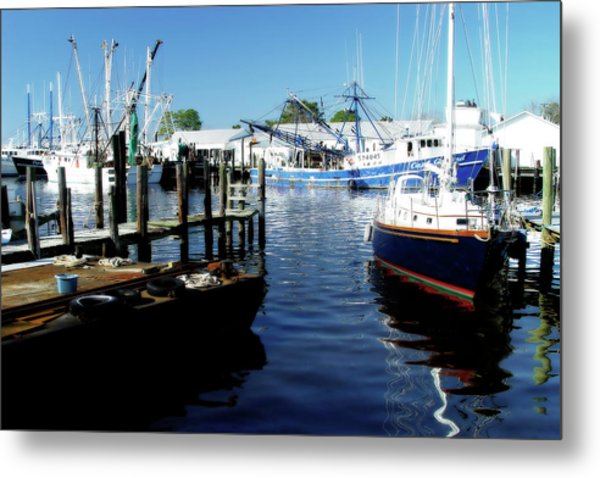 Boats At Orental Metal Print by Alan Hausenflock
