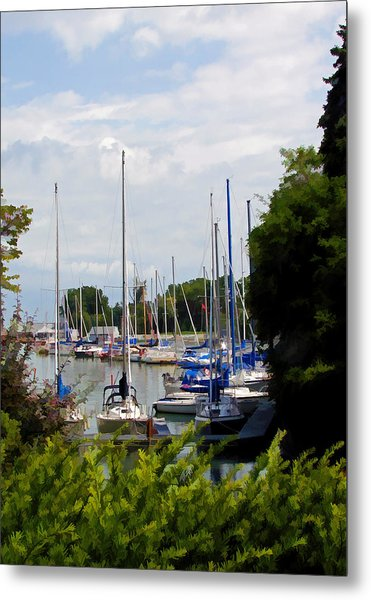 Boats In Harbour Metal Print by Art Tilley