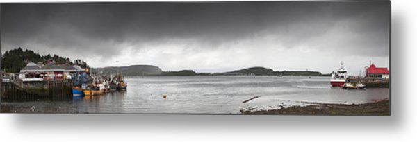 Boats Moored In The Harbor Oban Metal Print
