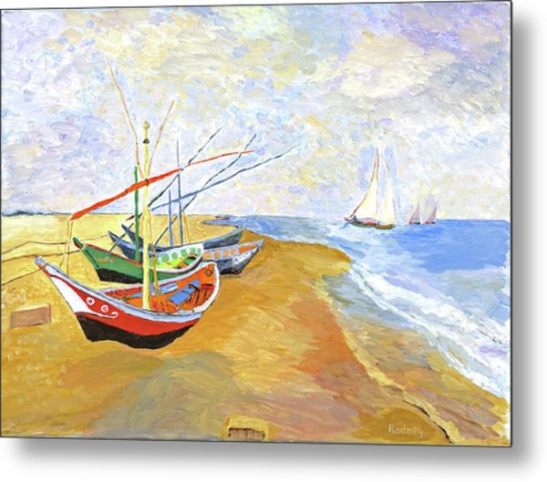 Boats On The Beach At Saintes-maries After Van Gogh Metal Print