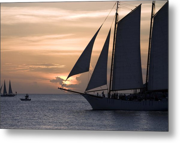 Boats Passing Through Florida Keys Sunset Metal Print by Christopher Purcell