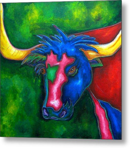 Boerne Longhorn Metal Print by Patti Schermerhorn