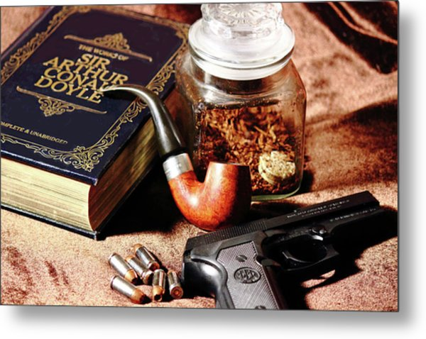 Books And Bullets Metal Print