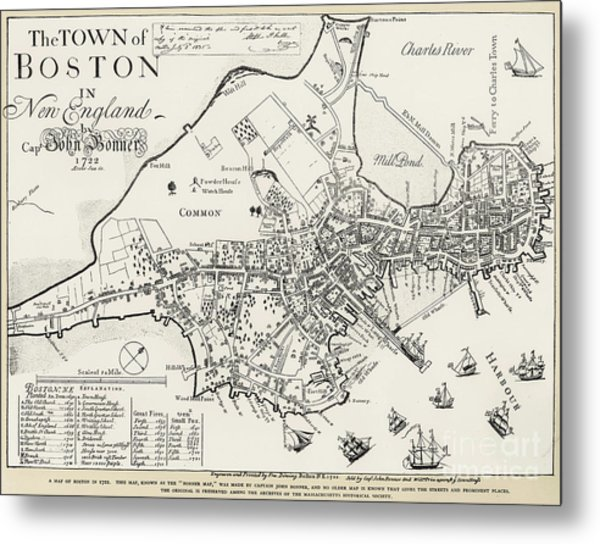 Metal Print featuring the photograph Boston Map, 1722 by Granger