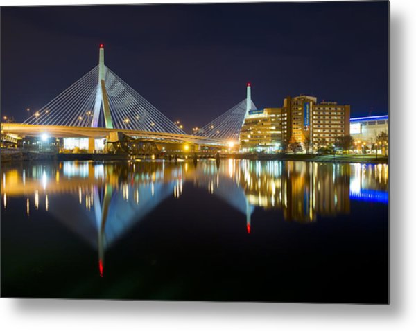 Boston Zakim Bridge Reflections Metal Print