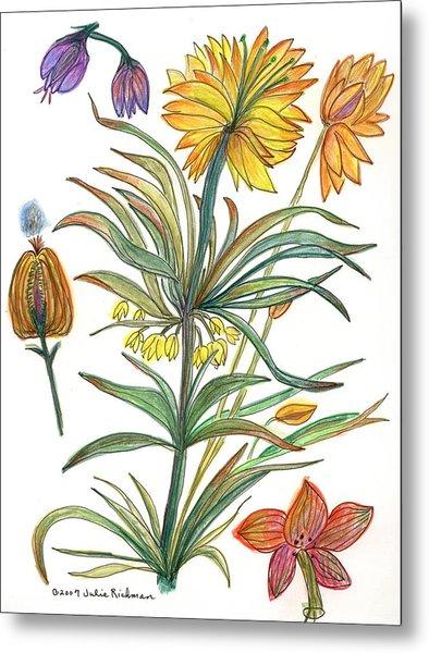 Botanical Flower-53  Yellow Flower Metal Print by Julie Richman
