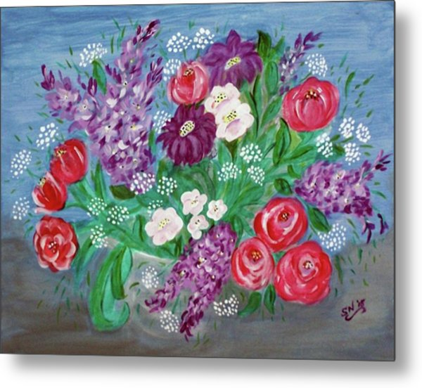 Metal Print featuring the painting Bowl Of Poisies by Sonya Nancy Capling-Bacle