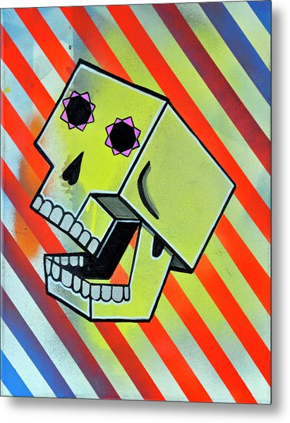 Box Skull Metal Print