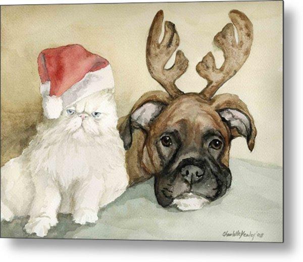 Boxer And Persian Cat Christmas Metal Print