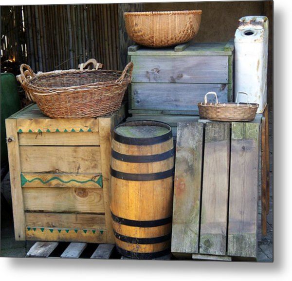 Boxes And Baskets Metal Print by Emily Kelley
