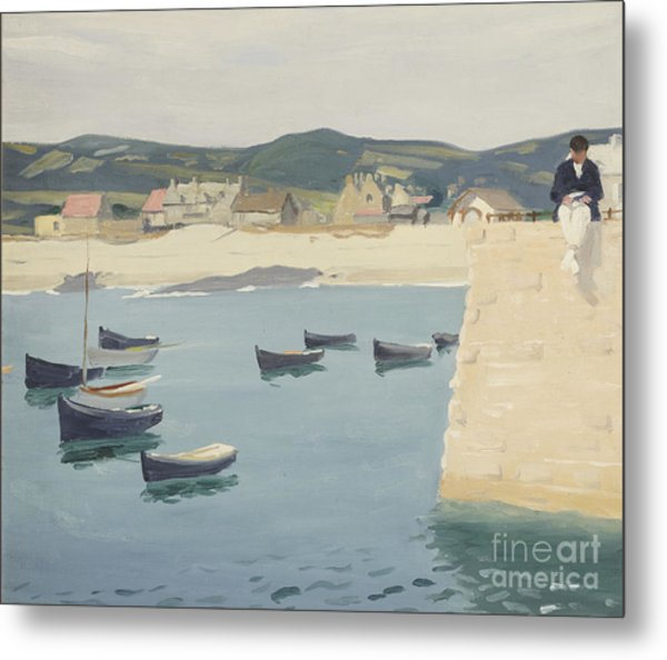 Boy Reading On A Harbour's Edge  Metal Print