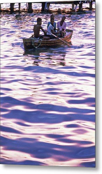 Boys On Boat Metal Print