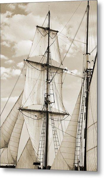 Brigantine Tallship Fritha Sails And Rigging Metal Print
