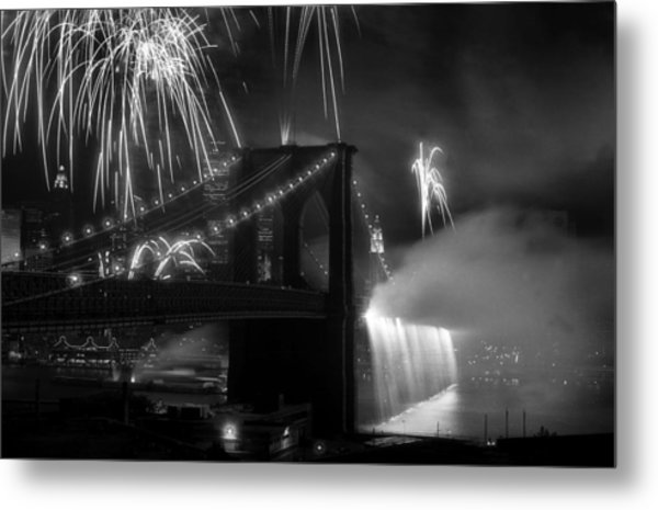 Brooklyn Bridge Columbus Quincentennial 1992 Metal Print by Tom Callan
