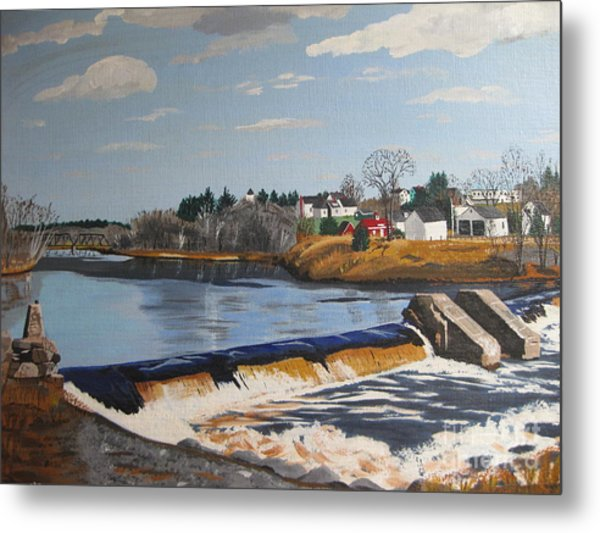 Brownville Dam With Village Metal Print