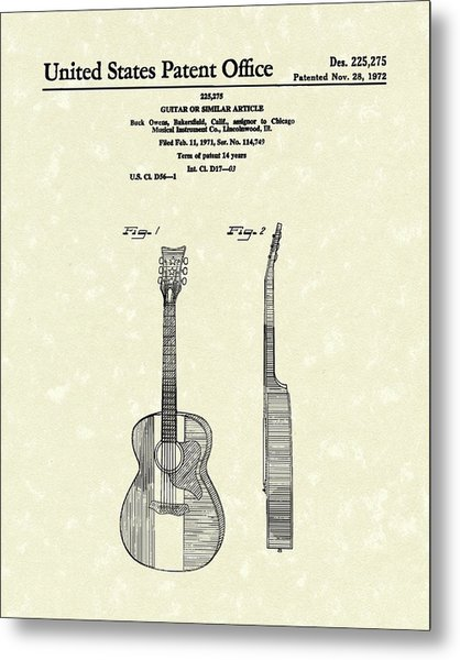 Buck Owens Guitar 1972 Patent Art  Metal Print