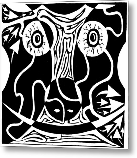 Bull Charging Rorschach Metal Print by Yonatan Frimer Maze Artist